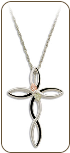 Sterling Silver Cross Pendant with Black Hills Gold Leaves (SKU: PE3054SS)