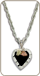 Sterling Silver Necklace with Onyx Heart Pendant (SKU: PE3688SS)