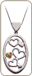 Sterling Silver Heart Pendant with Black Hills Gold Leaves  (SKU: PE391SS)