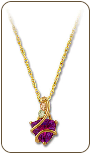 Black Hills Gold Pendant with Cubic Zirconia and Leaves (SKU: PE397)