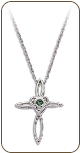 Sterling Silver Cross Pendant with Green Montana Sapphire (SKU: PE5100SS-933)