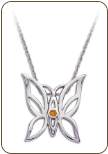 Sterling Silver Butterfly Pendant with Yellow Montana Sapphire (SKU: PE5103SS-935)