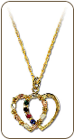Black Hills Gold Mothers Heart Pendant with Leaves and Birthstones (SKU: PE899)