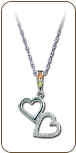 Sterling Silver Dual Heart Pendant with Black Hills Gold Leaves (SKU: PE951SS)