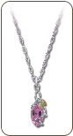 Black Hills Silver Necklace with Rose Zircon Pendant (SKU: PE968SS-310)