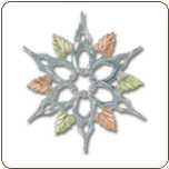 Sterling Silver Snowflake Brooch Pin with Black Hills Gold Leaves (SKU: PN413SS)