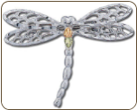 Sterling Silver Dragonfly Brooch Pin with Black Hills Gold Leaves (SKU: PN418SS)