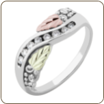 Ladies Black Hills White Gold Ring with Diamonds and Black Hills Gold leaves (SKU: WGL02303X)