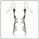 Black Hills Gold Earrings with Leaves (SKU: ER3259/BLK)