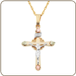 Black Hills Gold Crucifix Pendant (SKU: 03381)