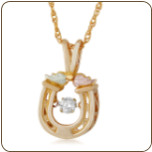 Black Hills Gold Horseshoe Pendant with Diamond and Leaves (SKU: G LPE3802X)
