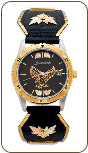 Mens Watch with Eagle, Leaves and Metal Band, by Landstroms (SKU: MWB9218-BLK531-BLK)
