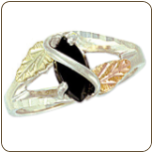 Sterling Silver Ladies Onyx Ring with Black Hills Gold Leaves (SKU: LR2873SS)