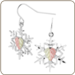 Sterling Silver Snowflake Earrings with Black Hills Gold Leaves (SKU: MRLER30541)