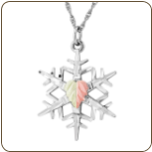 Sterling Silver Snowflake Pendant with Black Hills Gold Leaf (SKU: MRLPE20541)