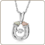 Sterling Silver Horseshoe Pendant with Diamond and Leaves (SKU: MRLPE3802X)