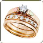 Z. Ladies Black Hills Gold Wedding Set with Engagement Ring (SKU: G LWR937SD)
