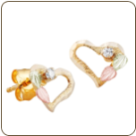Black Hills Gold Heart Earrings with Black Hills Gold Leaves and Diamond (SKU: 01283)