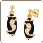 Black Hills Gold Onyx Earrings with Leaves (SKU: 01353)