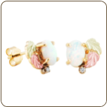 Black Hills Gold Opal Earrings with Opal and Diamond (SKU: 01387)
