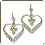 Sterling Silver Heart Earrings with Black Hills Gold Leaves and White Sapphire (SKU: 01526SS)