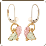 Black Hills Gold Earrings with Leaves and Grape Clusters for Pierced Ears (SKU: 01579)