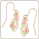Black Hills Gold Hummingbird Earrings with Black Hills Gold Leaves (SKU: 01592)