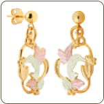 Black Hills Gold Hummingbird Earrings with Black Hills Gold Leaves, for Pierced Ears (SKU: 01593)