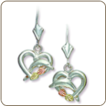 Sterling Silver Heart Earrings with Dolphin and Black Hills Gold Leaves (SKU: 01597SS)
