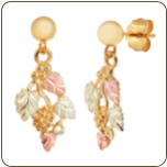 Black Hills Gold Earrings with Leaves and Grape Clusters for Pierced Ears (SKU: 01630)