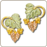 Black Hills Gold Earrings with Leaves and Grape Clusters for Pierced Ears (SKU: 01651)