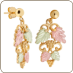 Black Hills Gold Earrings with Leaves and Grape Clusters for Pierced Ears (SKU: 01656)