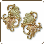 Black Hills Gold Earrings with Leaves for Pierced Ears (SKU: 01733)