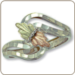 Sterling Silver Ladies Ring with Black Hills Gold Leaves (SKU: 02120SS)