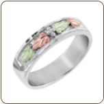 G3. Ladies Sterling Silver Wedding Band with Black Hills Gold Leaves (SKU: 02146SS)