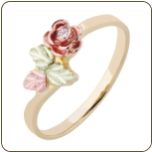 Ladies Black Hills Gold Ring with Diamond in Rose (SKU: 02260X)
