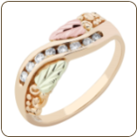 Ladies Black Hills Gold Ring with Diamonds and Black Hills Gold leaves (SKU: 02303X)