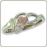 Sterling Silver Ladies Ring with Black Hills Gold Leaves (SKU: 02377SS)