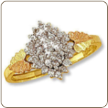 Ladies Black Hills Gold Right Hand Ring, Pointer Ring with Diamond Cluster (SKU: 02468X)