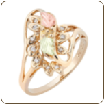 Ladies Black Hills Gold Right Hand Ring with Multiple Diamonds (SKU: 02473)