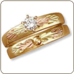 P. Ladies Black Hills Gold Wedding Set with Engagement Ring (SKU: 02677SD)
