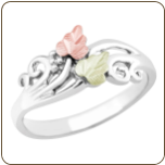 Sterling Silver Ladies Ring with Black Hills Gold Leaves (SKU: 02683SS)