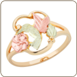Black Hills Gold Ladies Hummingbird Ring with Black Hills Gold Leaves (SKU: 02734)
