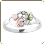 Sterling Silver Ladies Ring with Black Hills Gold Leaves (SKU: 02821SS)