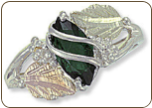 Sterling Silver Ladies Ring with Black Hills Gold Leaves and Birthstone (SKU: 02874SS)