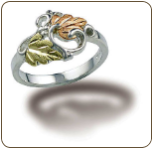 Sterling Silver Ladies Ring with Black Hills Gold Leaves (SKU: 02901SS)