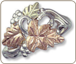 Sterling Silver Ladies Ring with Black Hills Gold Leaves (SKU: 02907SS)