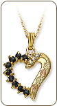 Black Hills Gold Necklace and Heart Pendant with Diamonds and Genuine Sapphires (SKU: 03299)