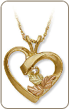 Black Hills Gold Diamond Heart Pendant (SKU: 03311X)