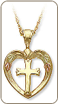 Cross in Heart Pendant, in Black Hills Gold (SKU: 03389-10K)